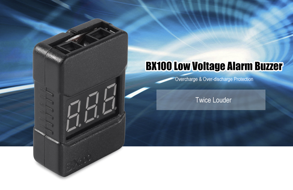 BX100 Low Voltage Alarm Buzzer Built-in LED Display / Loud Noise / Compatible with 1 - 8S LiPo