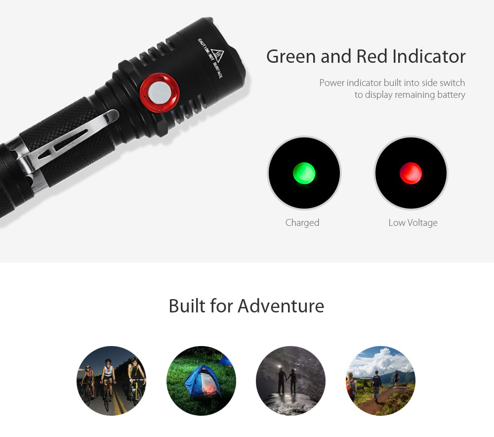 CREE XML2 1100Lm Stepless Dimming USB Rechargeable EDC LED Flashlight