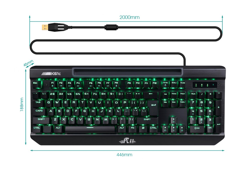 Rii K61c Gaming Mechanical Keyboard with LED Backlight Blue Switches Full N-key Rollover