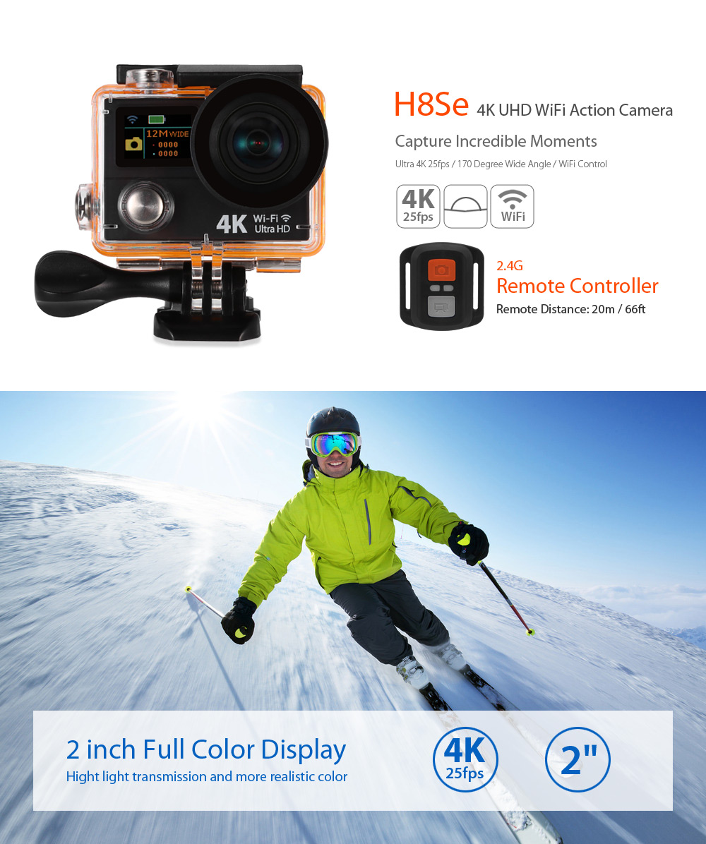 H8Se 4K WiFi Action Camera 170 Degree FOV with 2.4G Remote Controller