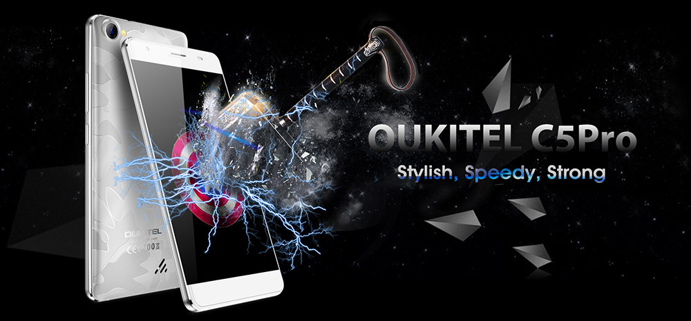 OUKITEL C5 Pro 4G Smartphone 5.0 inch Android 6.0 MTK6737 Quad Core 1.3GHz 2GB RAM 16GB ROM Dual Cameras