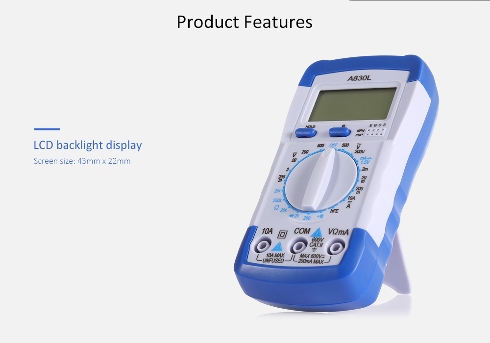 A830L Portable Digital Multimeter with Backlight Display