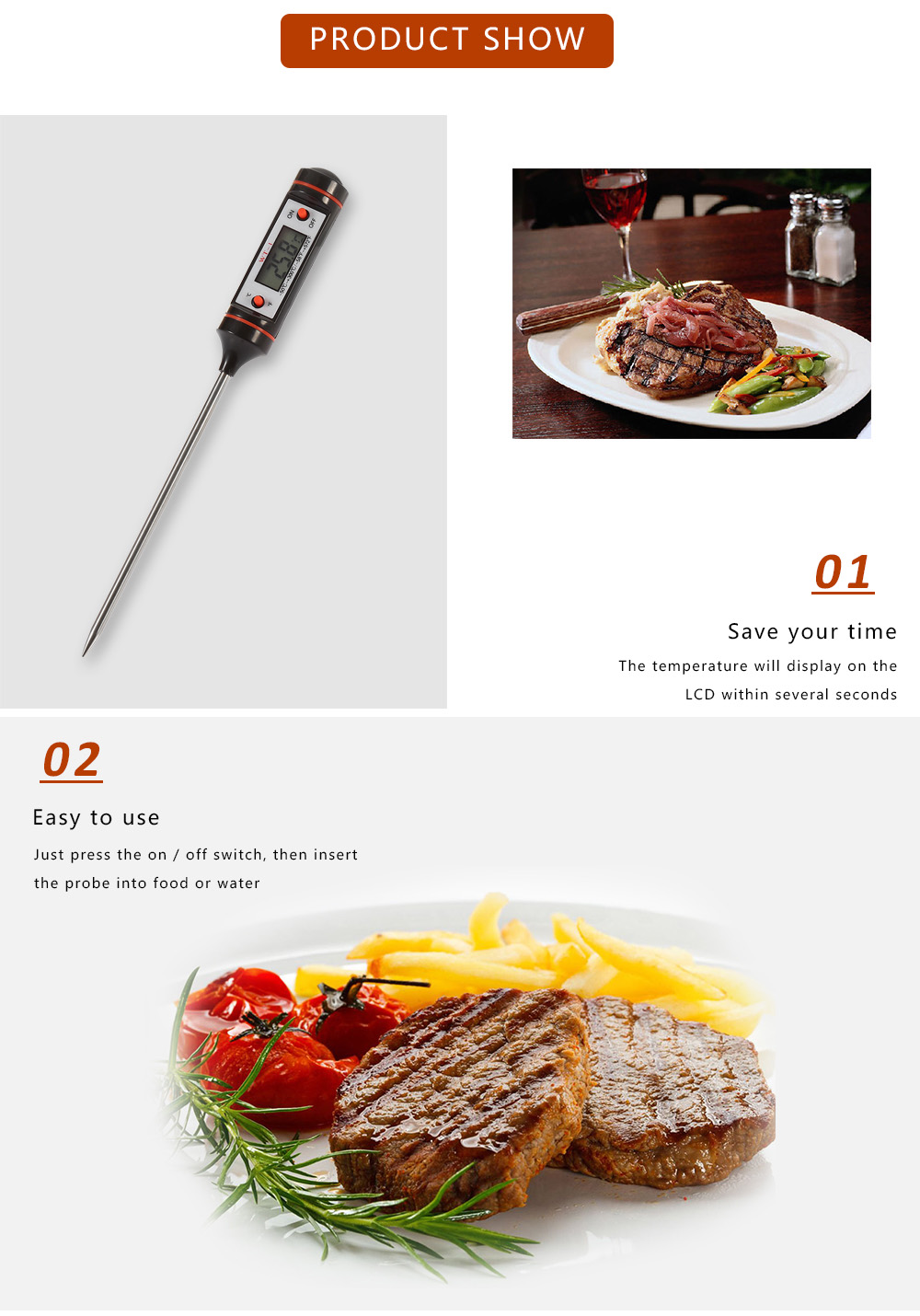 WT - 1 2PCS LCD Digital Thermometer Probe Type for Water / Liquid / Paste Temperature