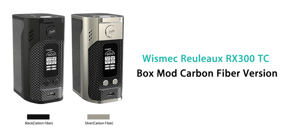 Original Wismec Reuleaux RX300 TC Box Mod Carbon Fiber Version with 1 - 300W / TC / VW Mode for E Cigarette