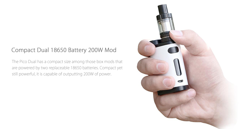 Original Eleaf Pico Dual with MELO III Mini with 1 - 200W / 100 - 315C / 200 - 600F / 0.3 ohm Clearomizer for E Cigarette