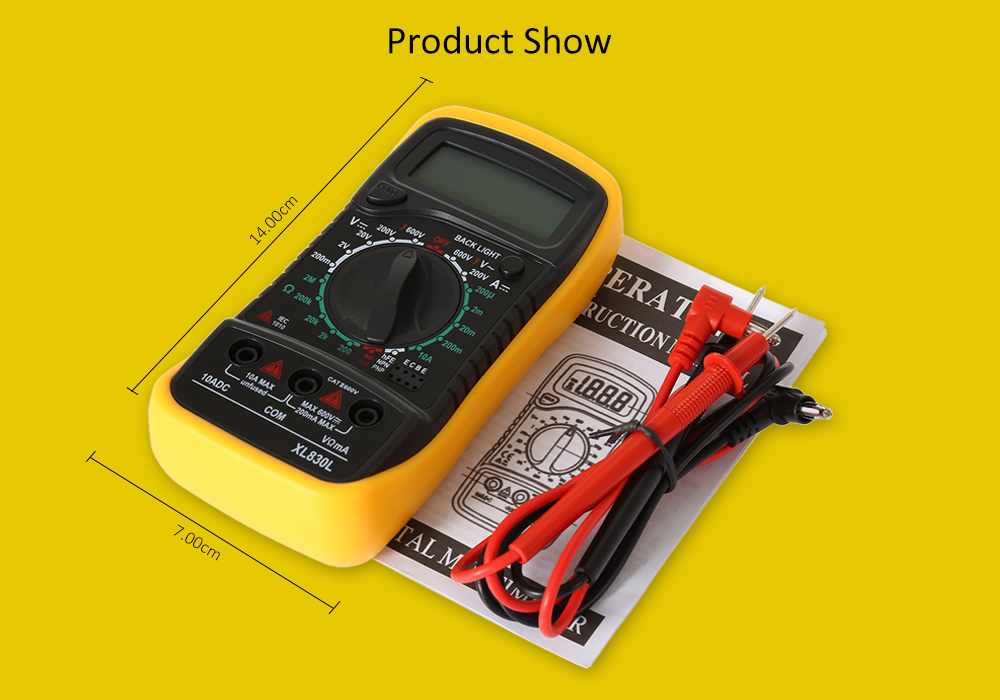 XL830L Portable Digital Multimeter with Backlight Display