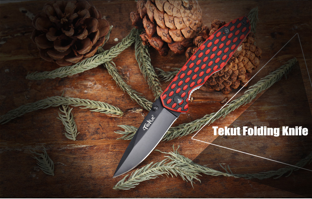 Tekut 7Cr17Mov Stainless Steel Liner Lock Folding Knife with G10 Handle