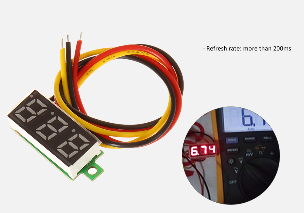 DC 0 - 100V 0.28 inch Three Line Digital LED Voltmeter Module for DIY