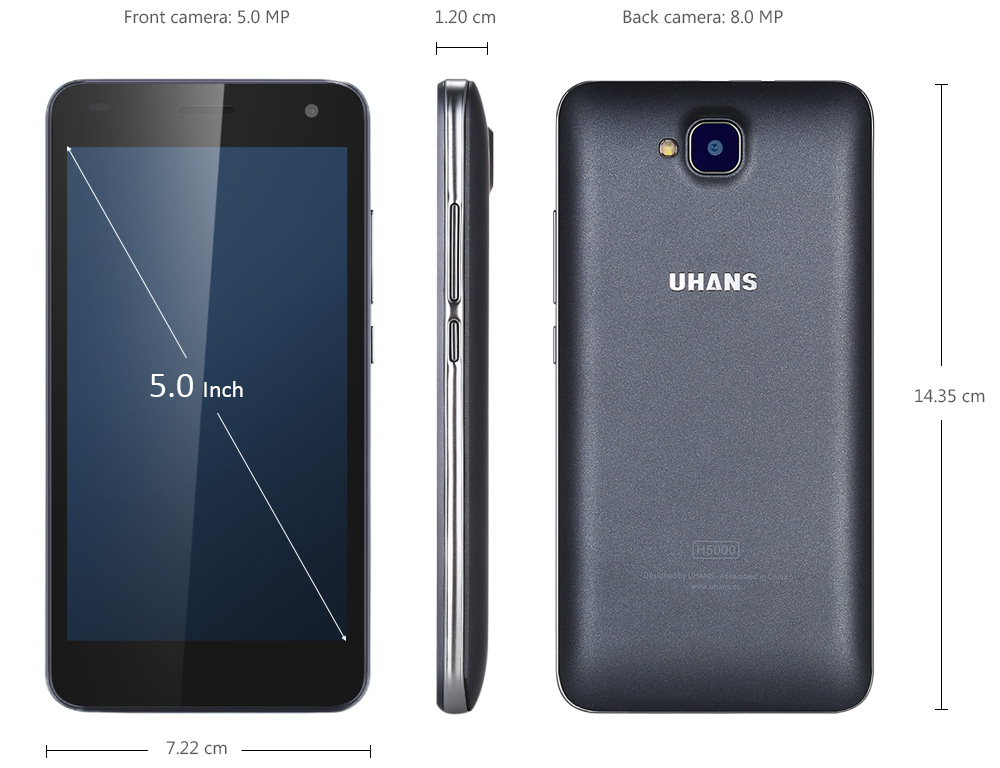 UHANS H5000 Android 6.0 5.0 inch 4G Smartphone MTK6737 1.3GHz Quad Core 3GB RAM 32GB ROM Dual Cameras 4500mAh Battary