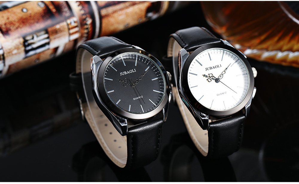 JUBAOLI 1174 Casual Male Quartz Watch Hollow-out Pointers Leather Strap Wristwatch