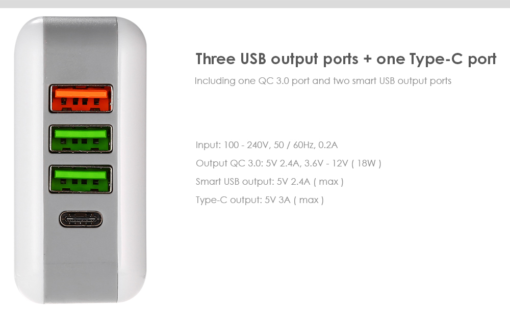 QC 3.0 Multination Travel Power Adapter Wall Charger Three USB Ports Type-C Output Quick Charge