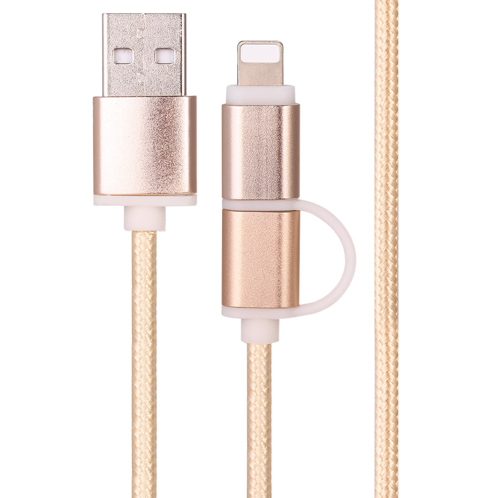 2 in 1 Woven Micro USB Charging Data Transfer Cable with 8Pin Adaptor 100cm