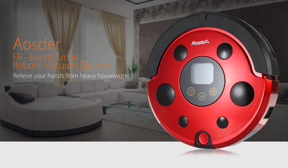 Aosder FR - Beetle Smart Robotic Vacuum Cleaner Cordless Sweeping Cleaning Machine Self-recharging Mopping Function