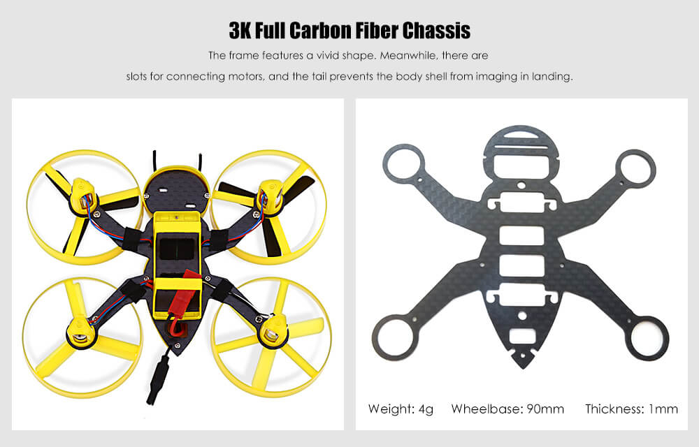FuriBee F90 90mm Wasp Mini RC Drone BNF 5.8G 40CH FPV 600TVL Camera Coreless Motor for Indoor Racing