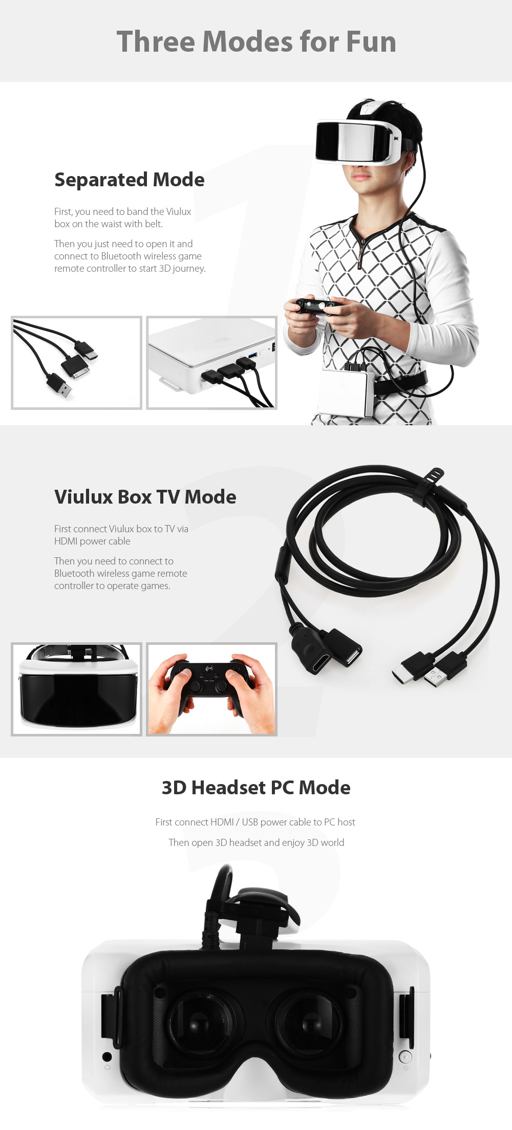 VIULUX VR - X 2K 60Hz Refresh Rate All-in-one 3D Headset