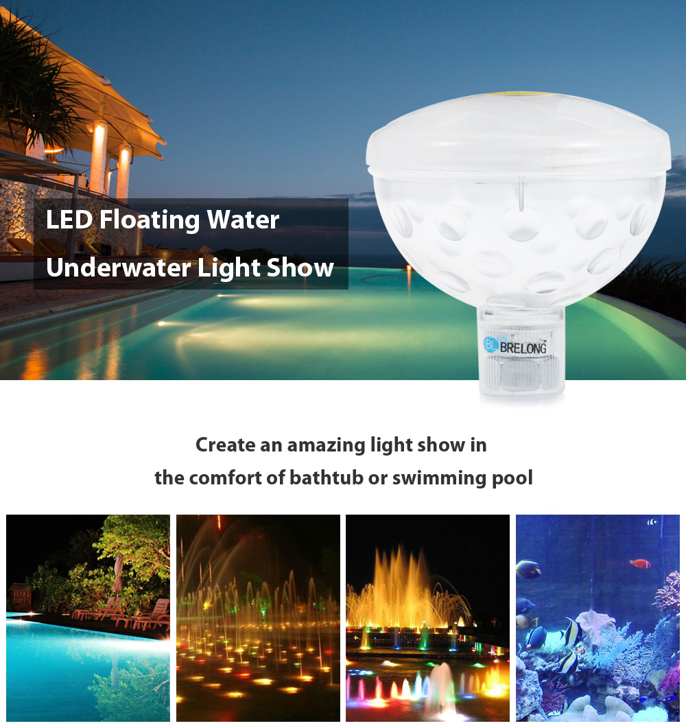 BRELONG Bathtub Swimming Pool LED Light Floating Water Underwater Show