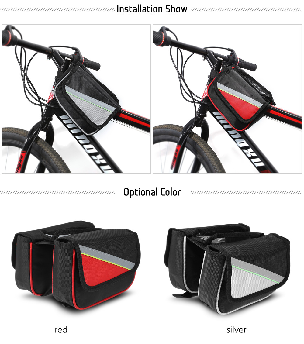 Double-pouch Bicycle Touchscreen Front Tube Bag for Outdoor Cycling