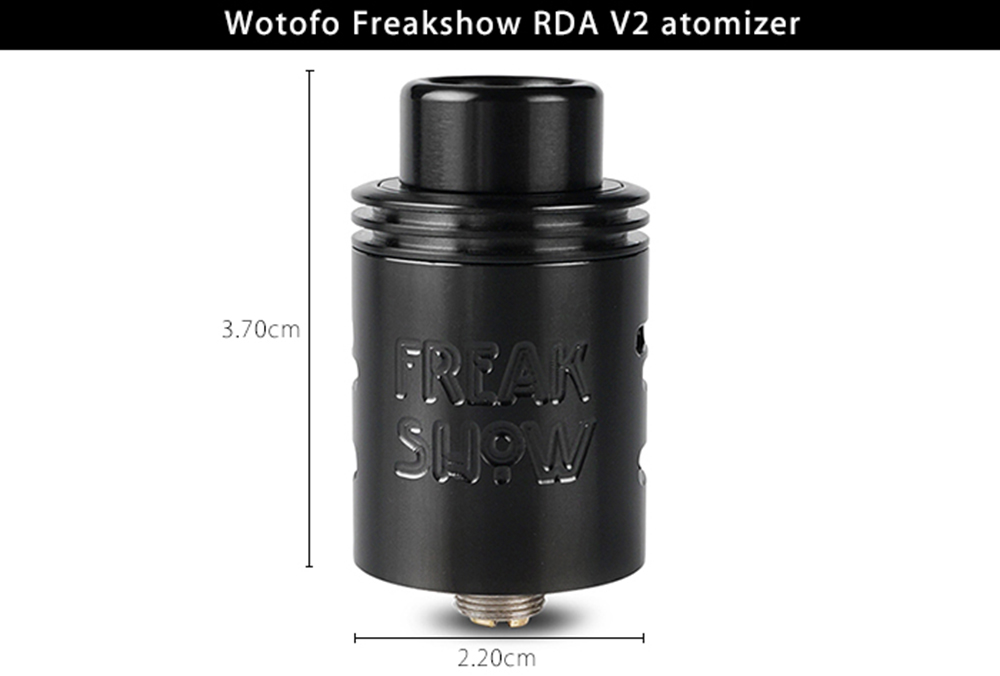 Original Wotofo Freakshow RDA V2 with Rebuildable Coil Atomizer / Dual Bottom Airflow