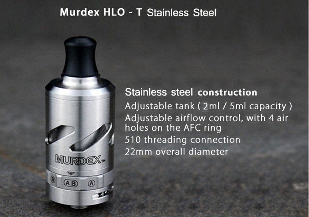 Original Murdex HLO - T Stainless Steel RTA with 2ml / 5ml Replaceable Capacity / Single / Dual Coil Changeable for E Cigarette
