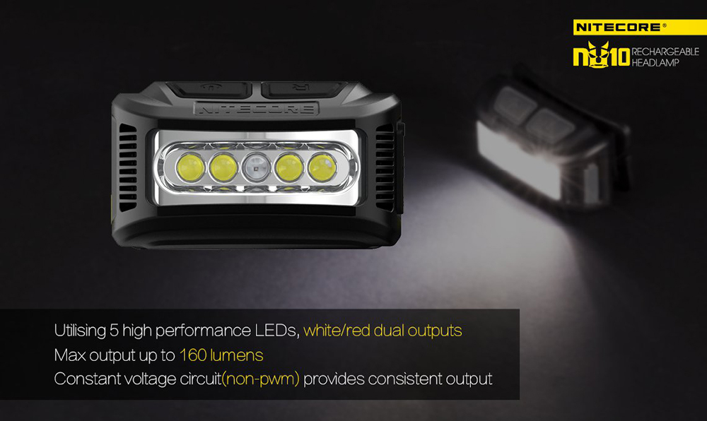 NITECORE NU10 160Lm Rechargeable LED Headlamp Dual Light Source