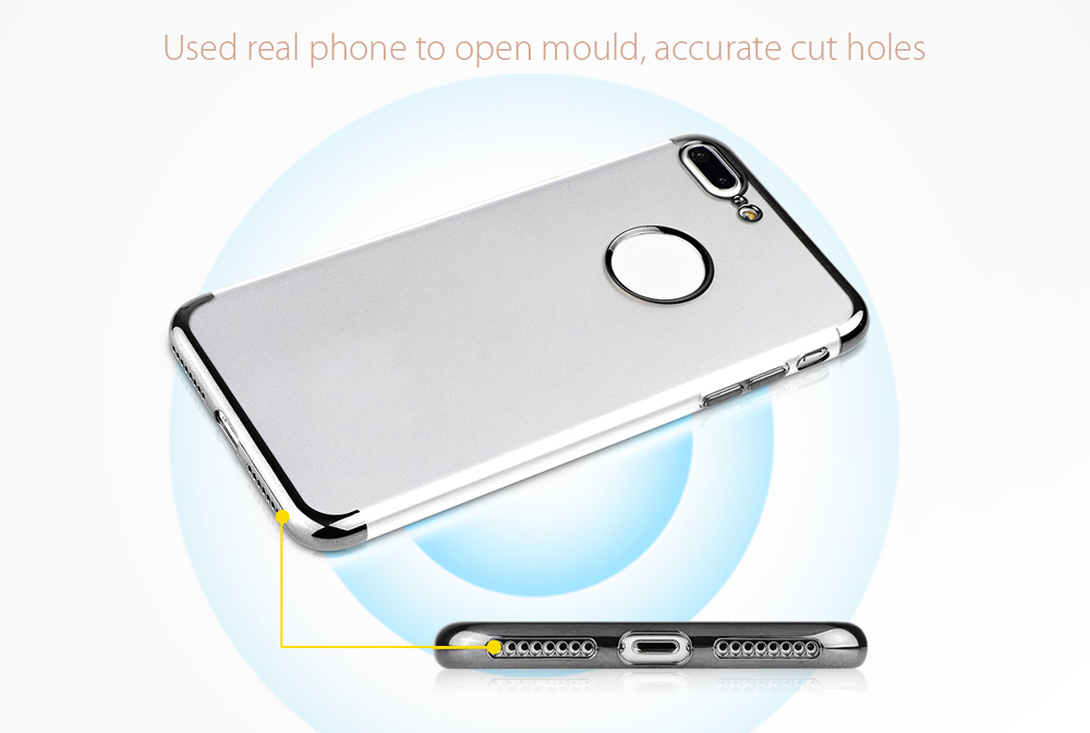Hat Prince TPU Case Tempered Glass Screen Film for iPhone 7 Plus Electroplating Edge Protector