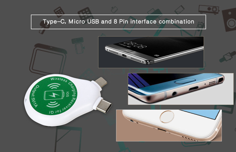 3-in-1 Qi Standard Wireless Charger Receiver Type-C 8 Pin Micro USB Interface