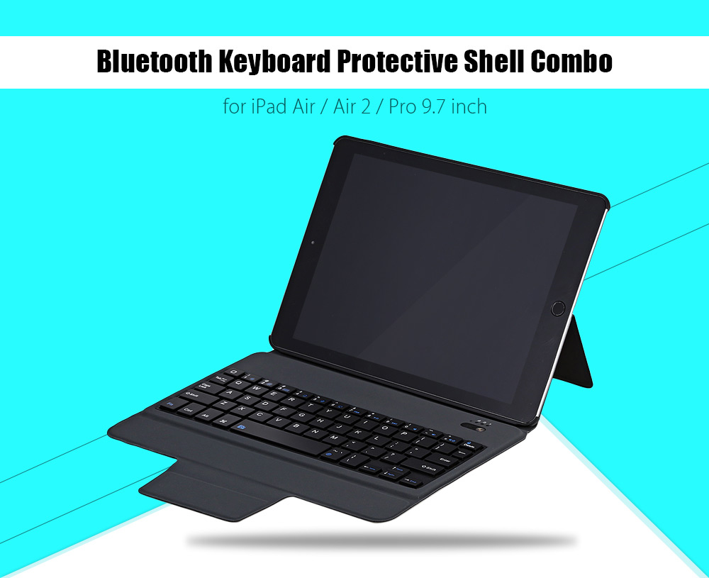 Bluetooth Keyboard PU Leather Cover Case for iPad Air / Air 2 / Pro 9.7 inch Foldable Stand