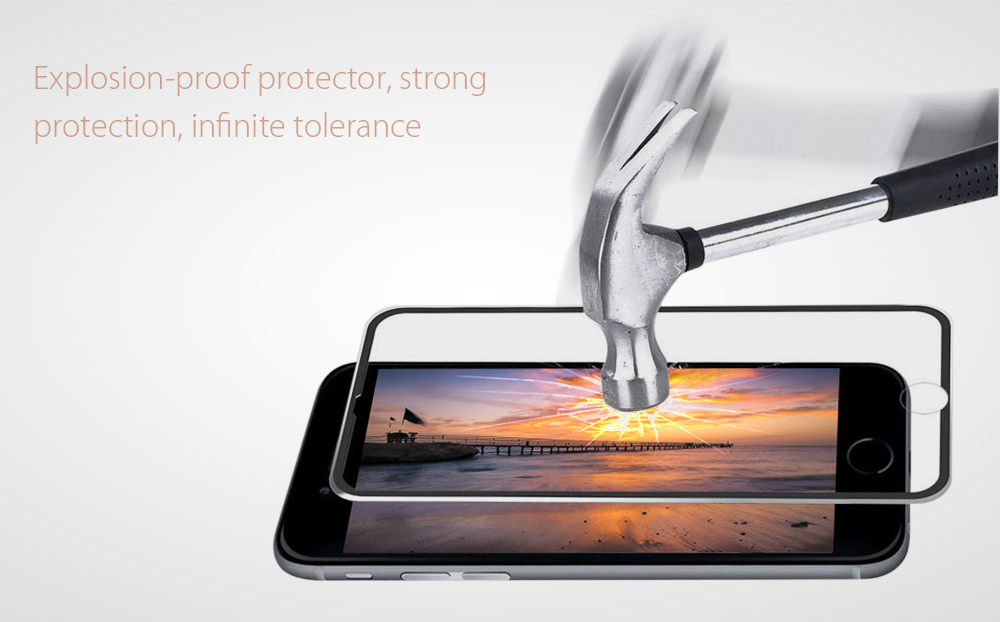Hat Prince Aluminium Alloy Edge Tempered Glass Screen Film for iPhone 6 Plus / 6S Plus 0.2mm 9H 3D Explosion-proof Protector