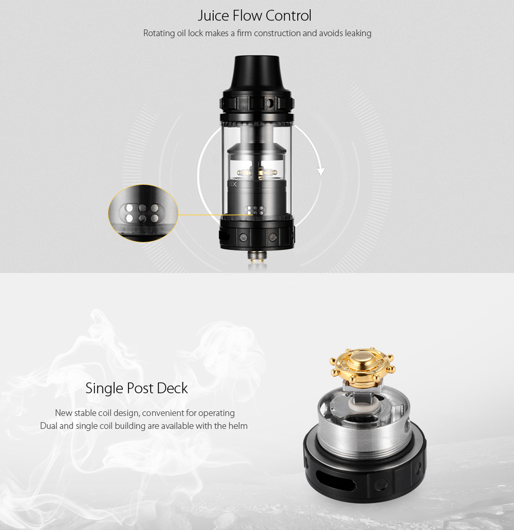 Original Fumytech Navigator BX RTA with 4.5ml Capacity / Top / Bottom Adjustable Airflow / New Stable Coil Design for E Cigarette