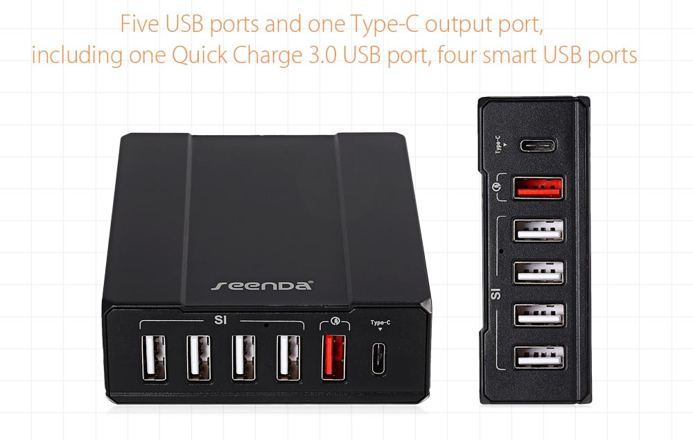 Seenda QC 3.0 Quick Charge Power Dock Charger Type-C Port 5 USB Output