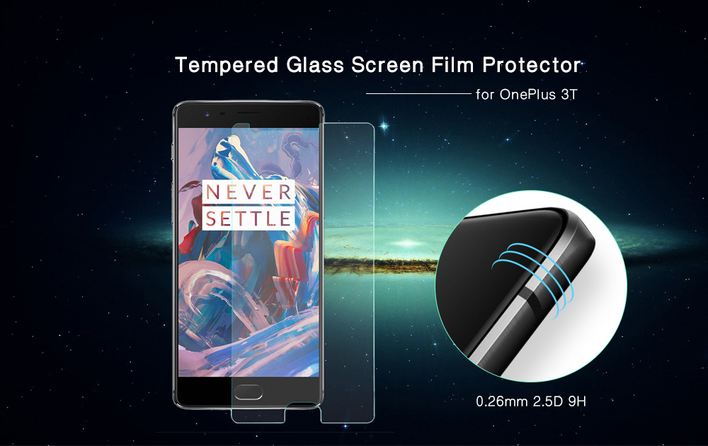 Hat Prince Tempered Glass Screen Film for OnePlus 3T Ultra-thin 0.26mm 2.5D 9H Explosion-proof Protector