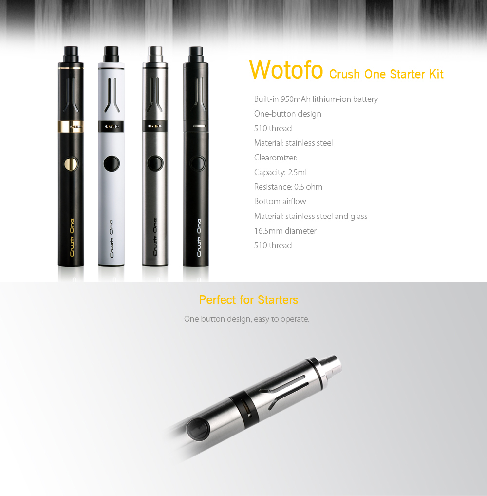 Original Wotofo Crush One Starter Kit with Built-in 950mAh Lithium-ion Battery / 2.5ml / 0.5 ohm Clearomizer for E Cigarette