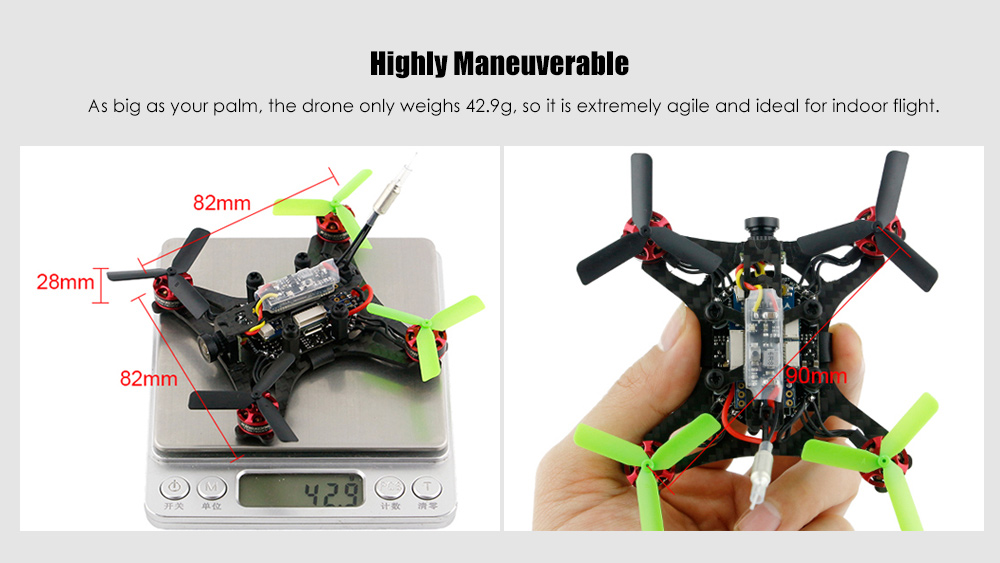 KingKong 90GT 90mm Mini Brushless FPV Racing Drone BNF 5.8G 800TVL / F3 FC / 4-in-1 BLHeli - S 3A ESC
