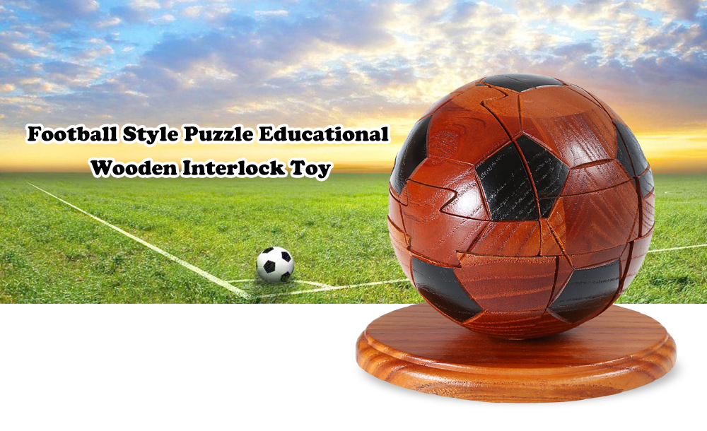Football Style Puzzle Educational Wooden Interlock Toy