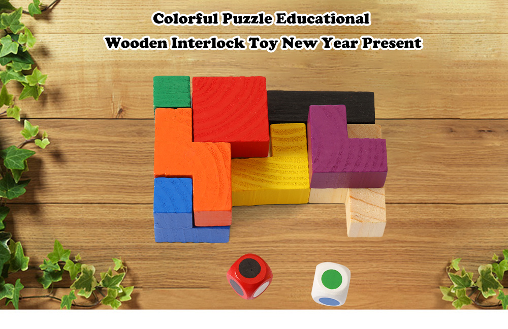 Colorful Puzzle Educational Wooden Interlock Toy New Year Present
