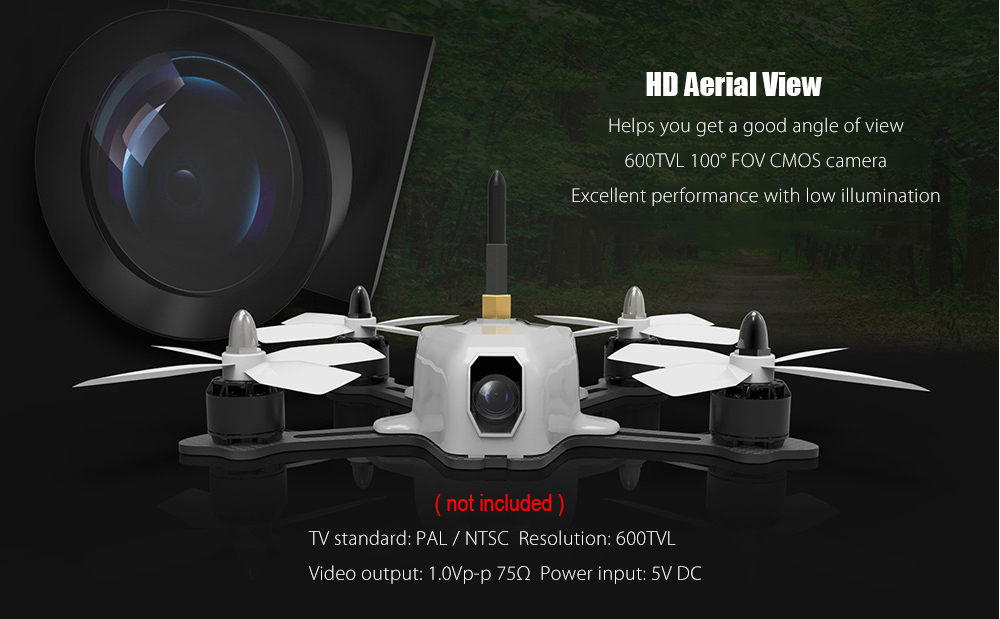 AWESOME 600TVL Mini Aerial Camera 100 Degree FOV for XV - 130 RC Racing Drone