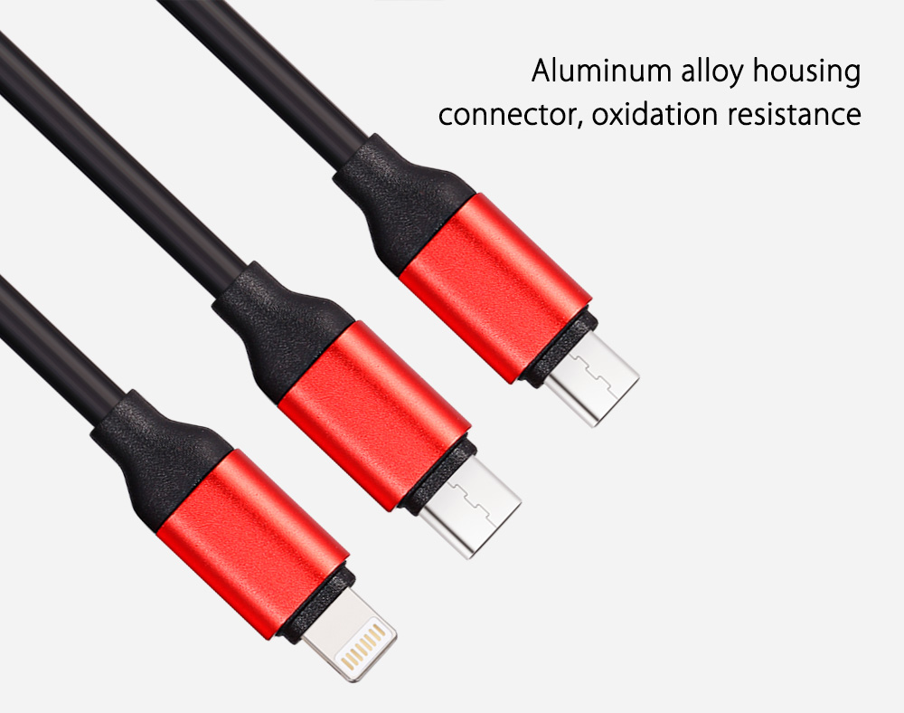 3-in-1 Micro USB 8 Pin Type-C Charging Cable PVC Pull Resistance - 1.2m