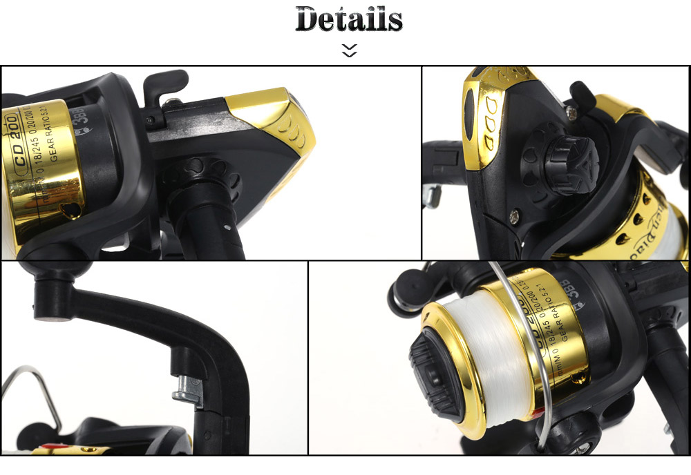 Aluminum Alloy + Plastic Folding Handle Design Spinning Fishing Reel with Line