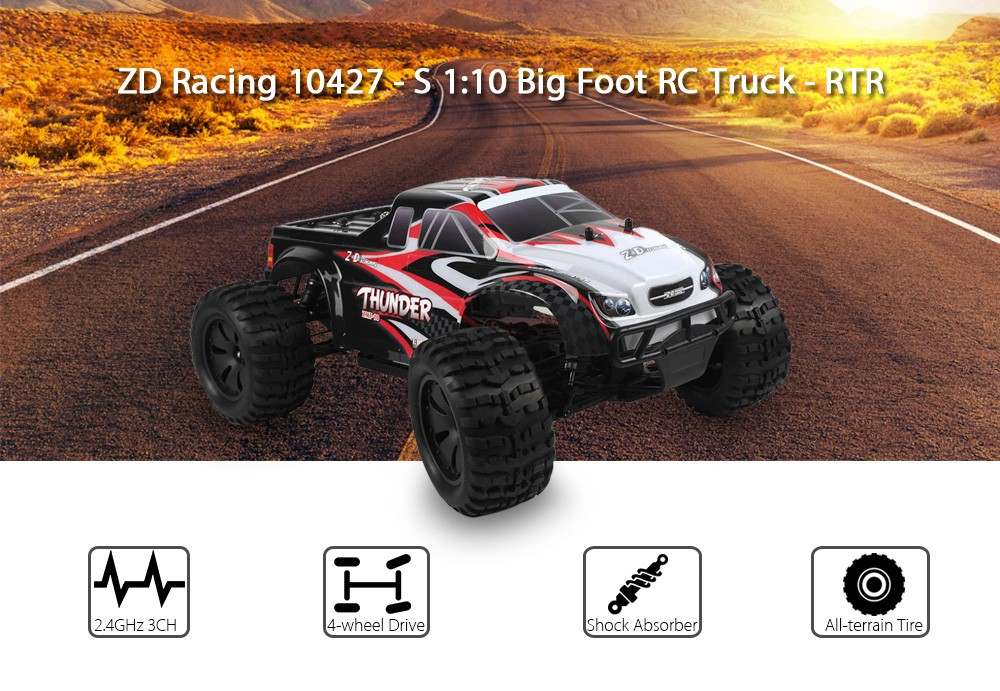 ZD Racing 10427 - S 1:10 Big Foot RC Truck RTR 2.4GHz 4WD / Splashproof 45A ESC / 3.5kg High-torque Servo