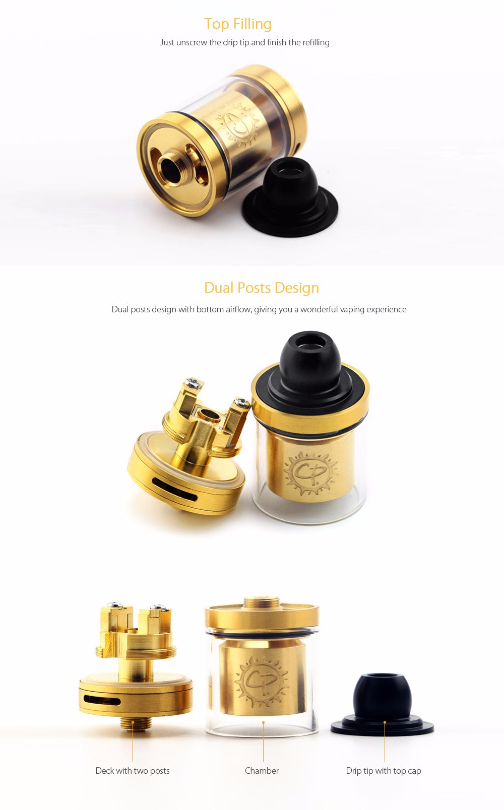 Original ADVKEN CP 1.2 RTA with 2.5ml / 24mm for E Cigarette