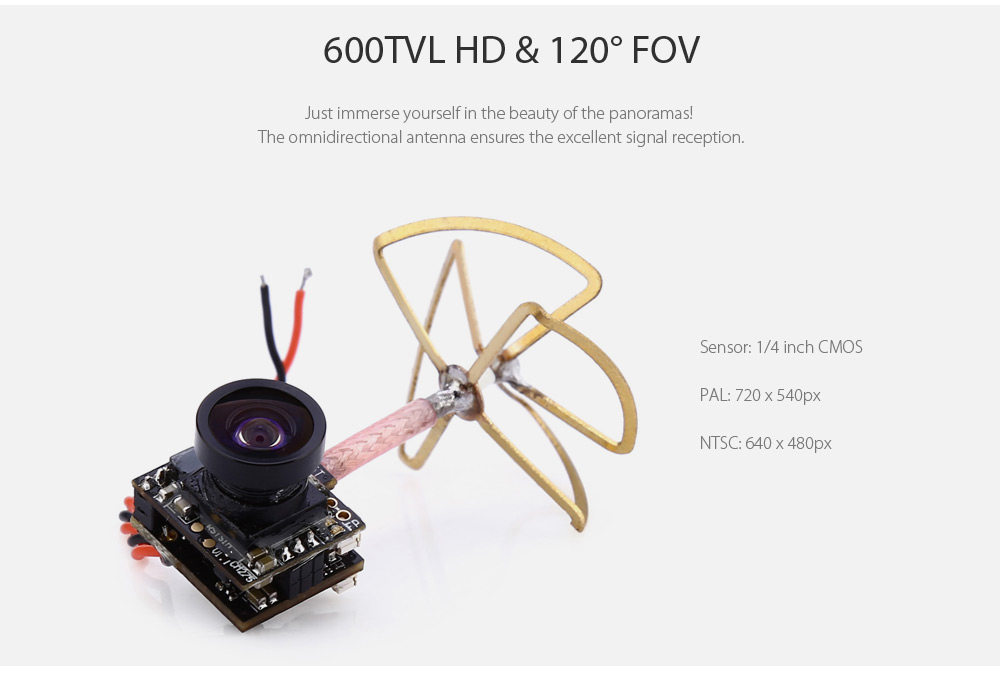 VM275T 600TVL AIO Mini Aerial Camera 120 Degree Wide-angle Lens Integrated with 5.8G 48CH 25mW FPV Transmitter