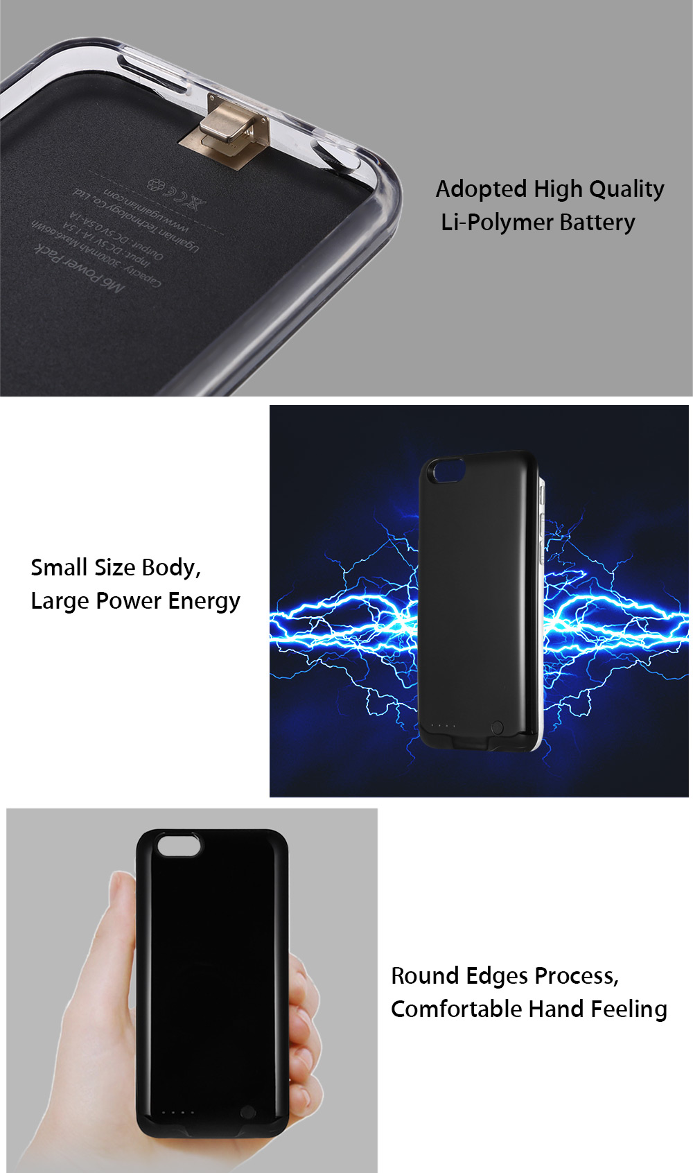 MEIPU M6 3000mAh Backup Power Bank Case Protective Cover for iPhone 6 / 6S