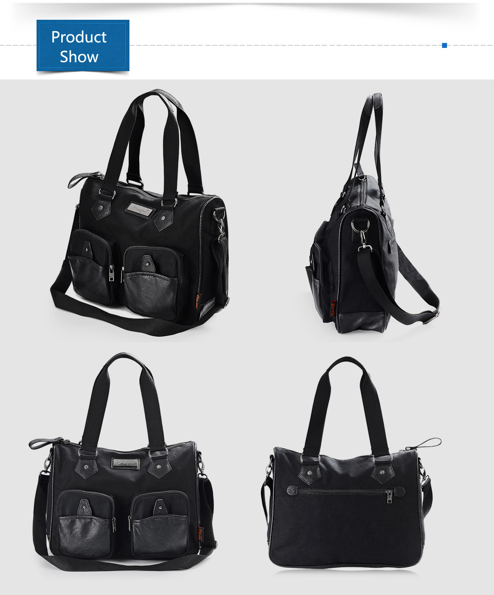 Douguyan 13.7L Sling Bag Canvas PU Splicing Single-shoulder Backpack Handbag