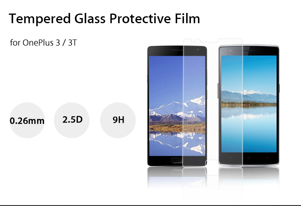 Luanke Tempered Glass Screen Film for OnePlus 3 / 3T Ultra-thin 0.26mm 2.5D 9H Explosion-proof Protector