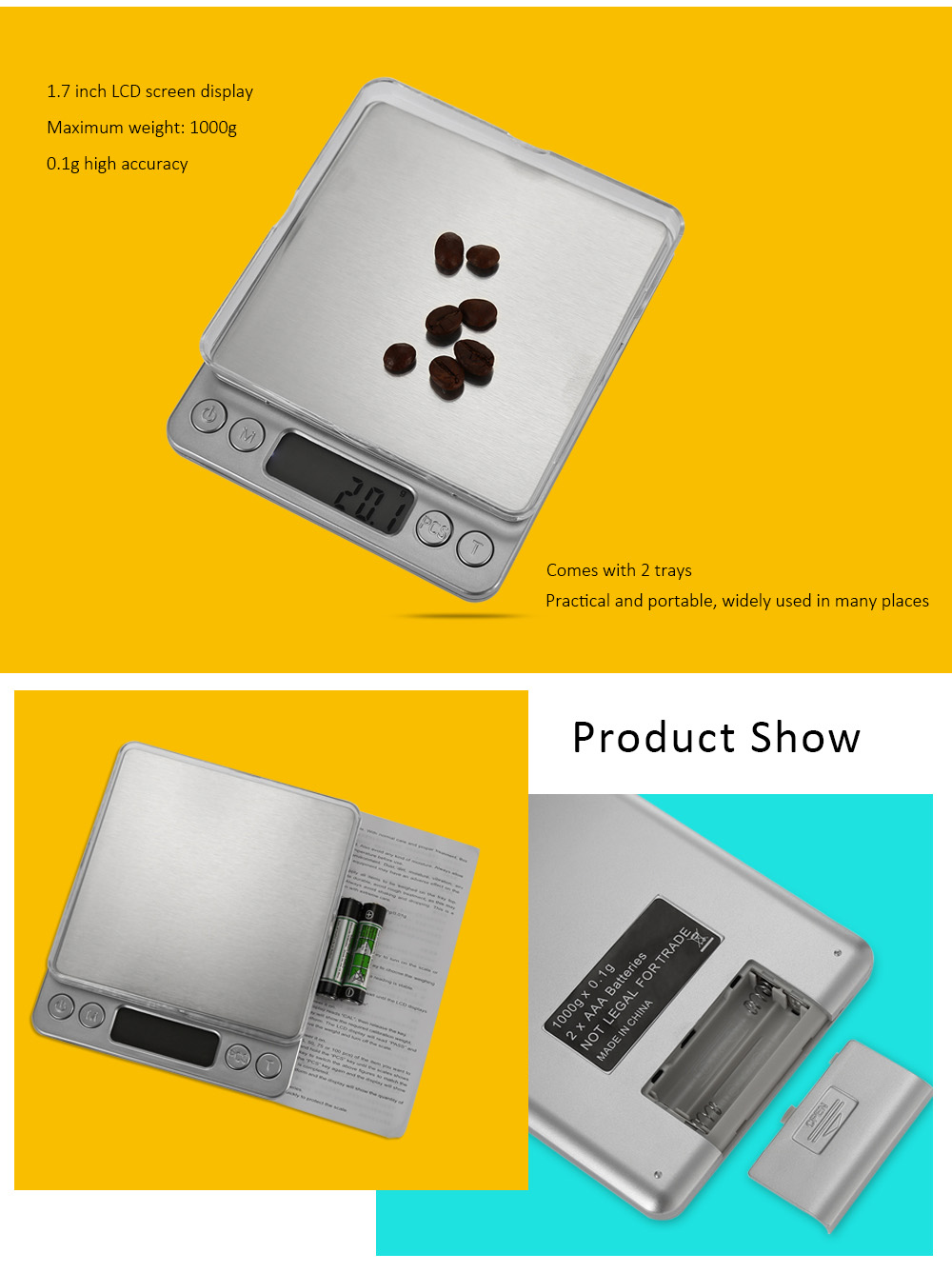 M - 8008 Precise 1000g 1.7 inch LCD Screen Digital Scale