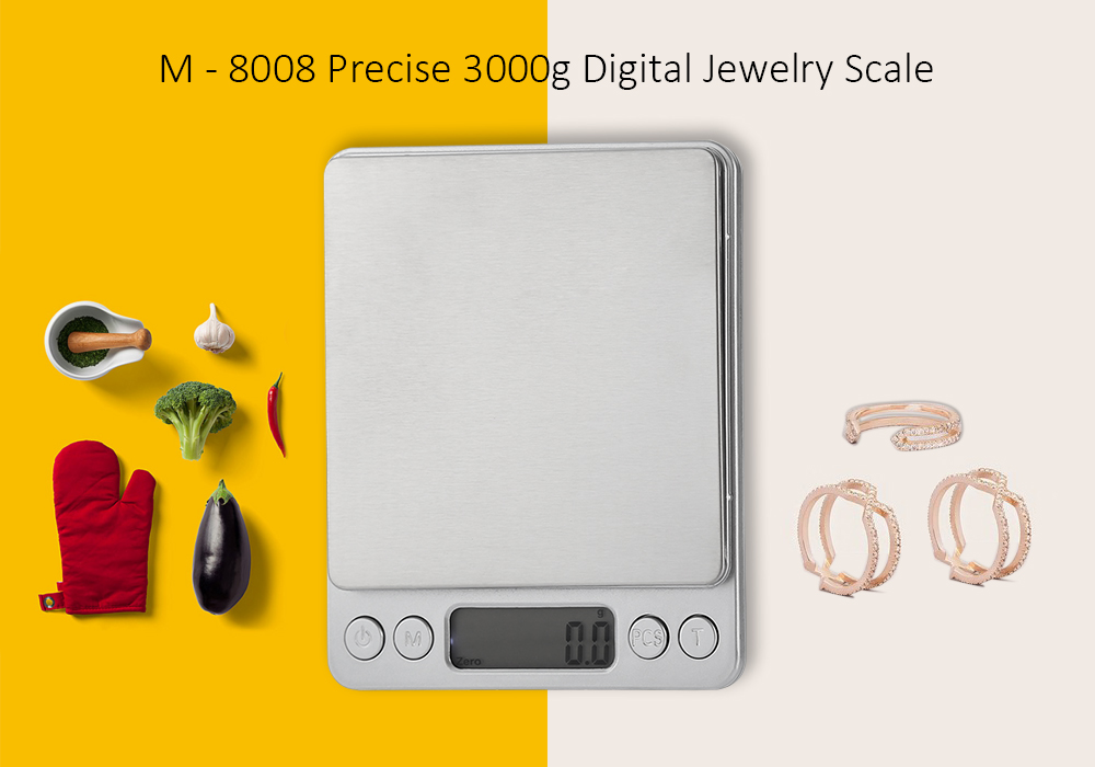M - 8008 Precise 3000g 1.7 inch LCD Screen Digital Scale