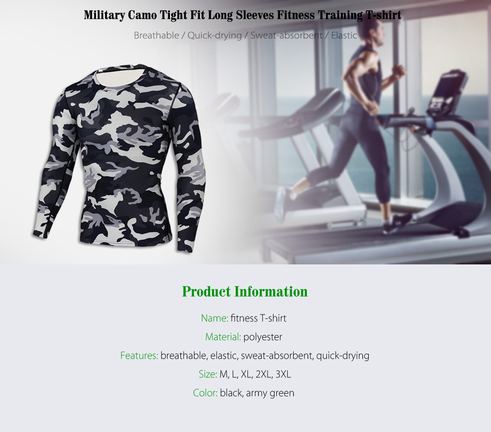 Military Camo Print Tight Fit Long Sleeves T-shirt Fitness Training Tops