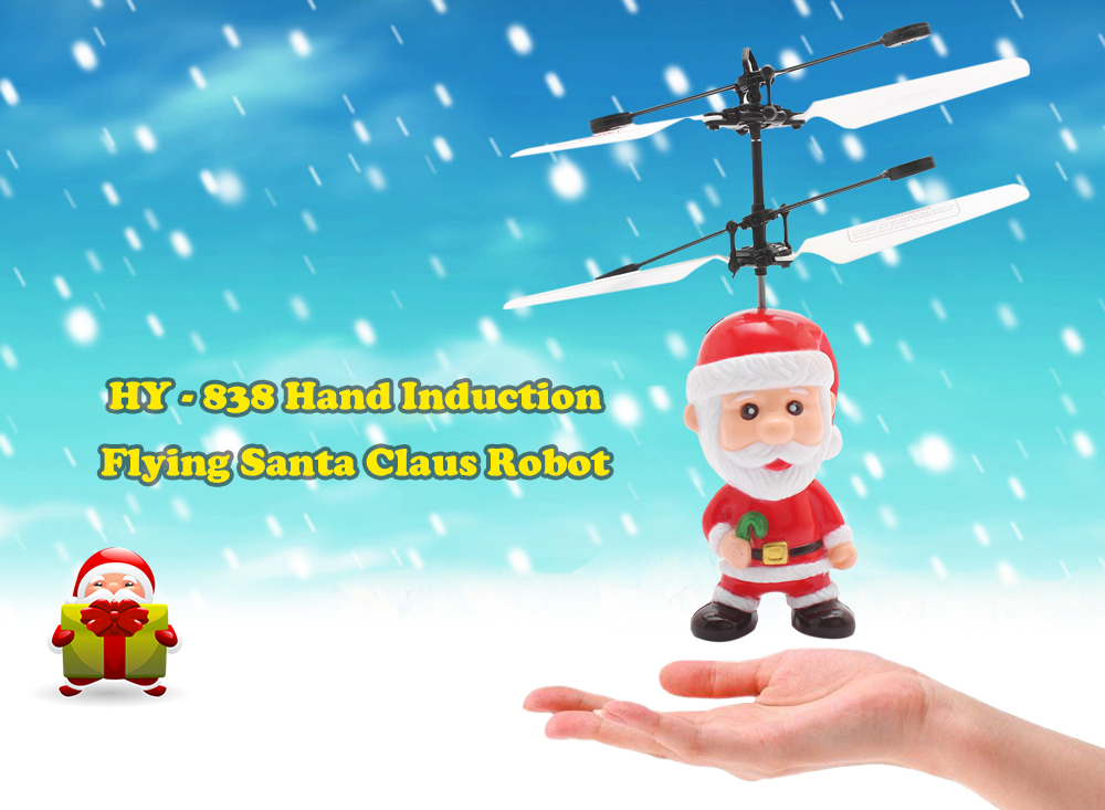HY - 838 Hand Induction Flying Santa Claus Robot with IR Transmitter