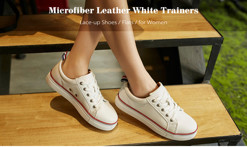 Microfiber PU Leather White Trainers Sneakers Athletic Shoes for Women