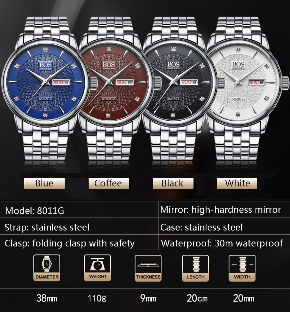 ANGELA BOS 8011G Rhinestone Scale Male Quartz Watch Dual Calendar Wristwatch